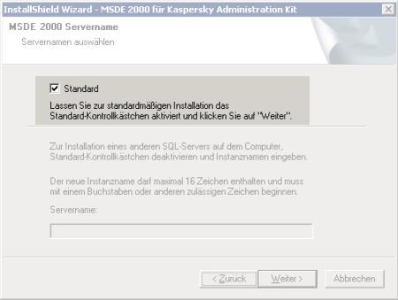 Screenshot einer MSDE2000 Installation mit dem Satz 'Lassen Sie zur standardmäßigen Installation das Standard-Kontrollkästchen aktiviert...'