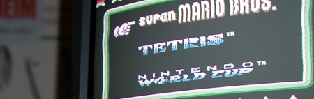 Image of a TV that shows the startscreen of a NES game