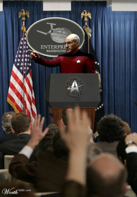 Jean Luc Picard as president of the united states doing a press conference