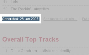 Screenshot of my music stats that shows, the generating date of 28.th january 2007