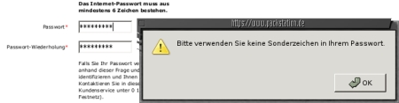 Meldung: Bitte verwenden Sie keine Sonderzeichen in Ihrem Passwort